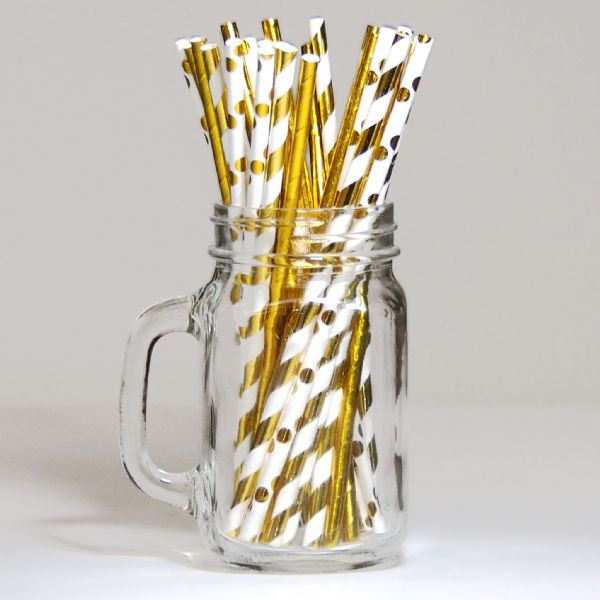 Pack Of 30 Gold Paper Straws